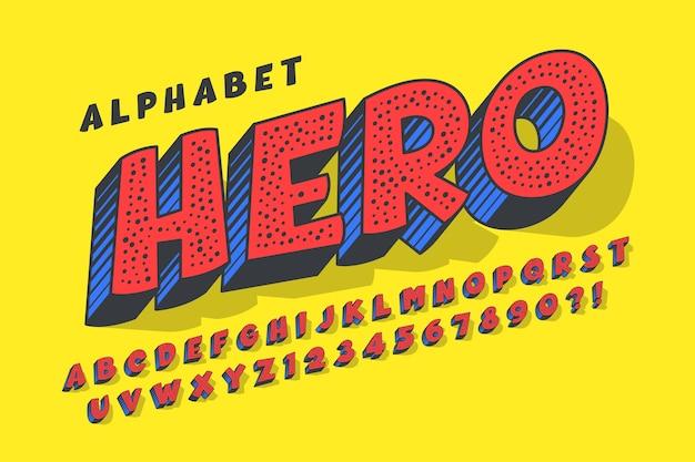Design moderno cômico 3d, alfabeto colorido, tipo de letra.