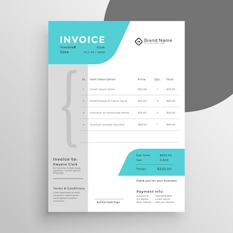 Design moderno criativo modelo de factura