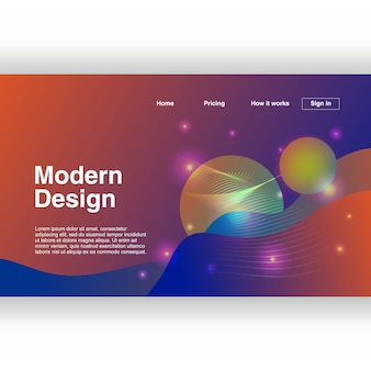 Design moderno da página de destino com geométrica abstrata