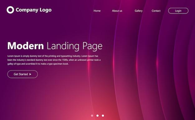 Design moderno da página de destino do site