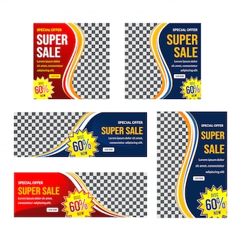Design moderno de banner de venda super vermelho e azul