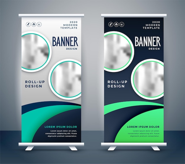 Design moderno de banner roll-up standee