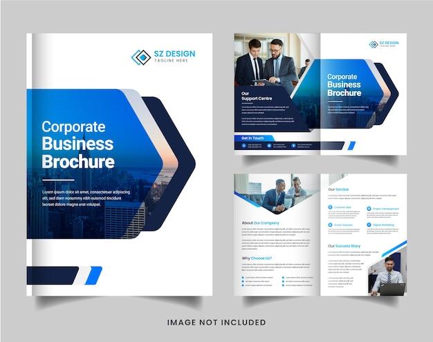Design moderno de brochura corporativa com formas geométricas em azul e preto