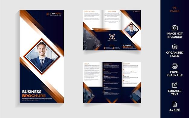 Design moderno de brochura empresarial com três dobras