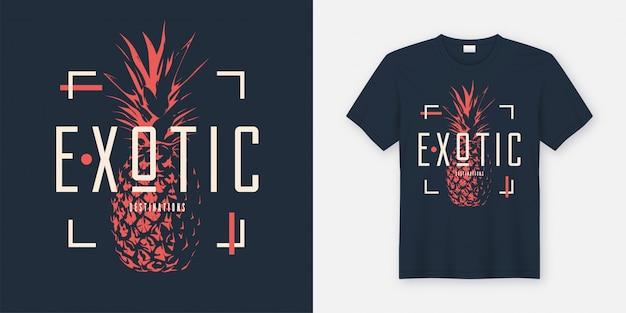 Design moderno de camiseta e vestuário elegante com abacaxi