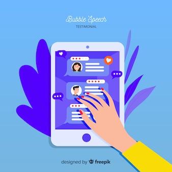 Design moderno de depoimento com bolhas do discurso