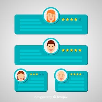 Design moderno de depoimento com conceito de bolhas do discurso