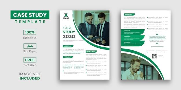 Design moderno de estudo de caso com modelo de folheto de 2 páginas