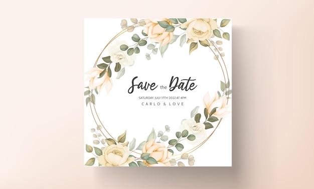 Design moderno de flores e folhas de cartão de convite de casamento
