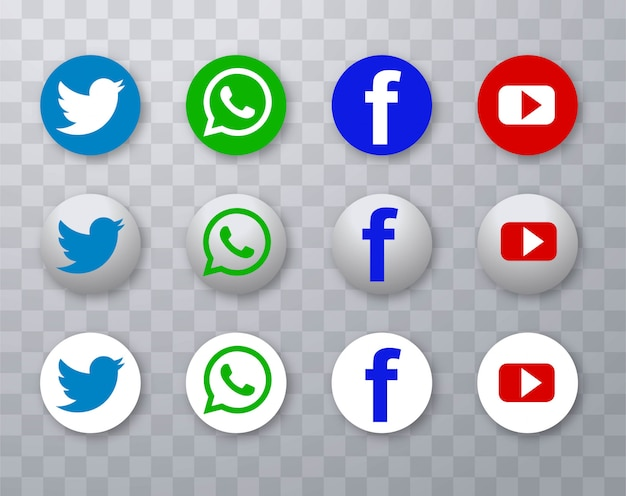 Design moderno de ícones de mídia social