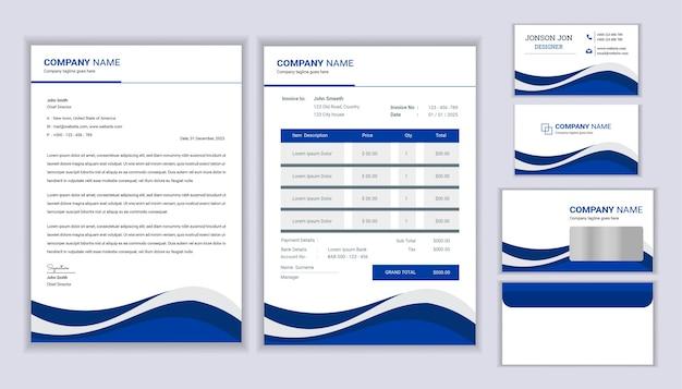 Design moderno de identidade corporativa para papelaria com modelo de papel timbrado, fatura e cartão de visita.