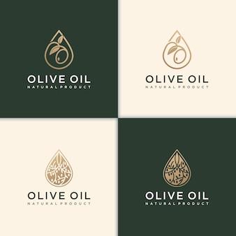 Design moderno de logotipo de azeite e folha de oliveira