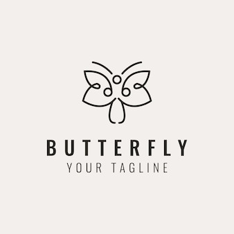 Design moderno de logotipo de borboleta com flor mínima