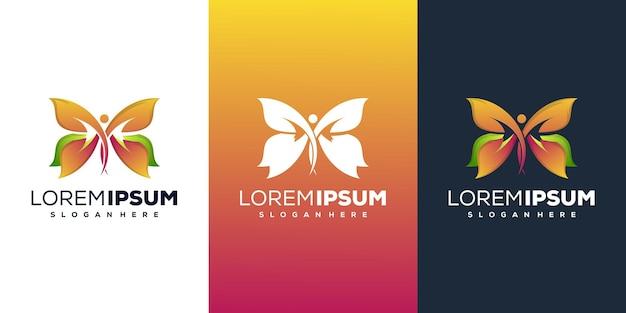 Design moderno de logotipo de borboleta humana