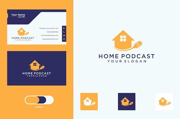 Design moderno de logotipo de podcast para casa e cartão de visita