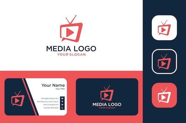 Design moderno de logotipo e cartão de visita da media television