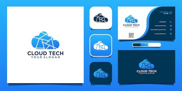 Design moderno de logotipo e cartão de visita de tecnologia em nuvem