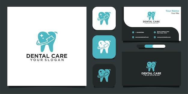 Design moderno de logotipo e cartão de visita para atendimento odontológico