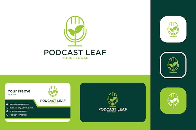 Design moderno de logotipo e cartão de visita verde em folha de podcast