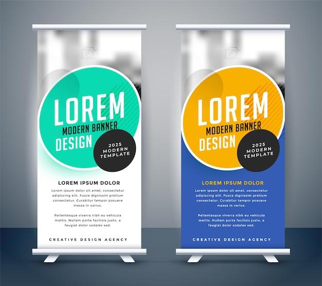 Design moderno de modelo de banner roll-up standee