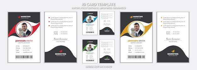 Design moderno de modelo de cartão de identificação de escritório com aparência criativa