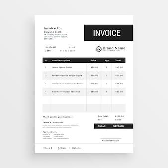 Design moderno de modelo de factura limpa