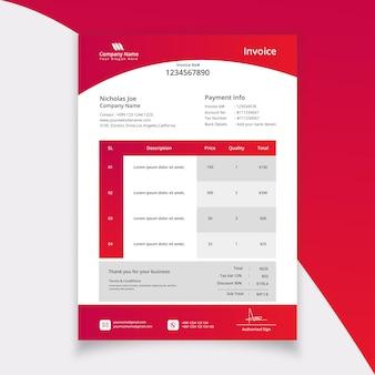 Design moderno de modelo de fatura de papelaria para empresas
