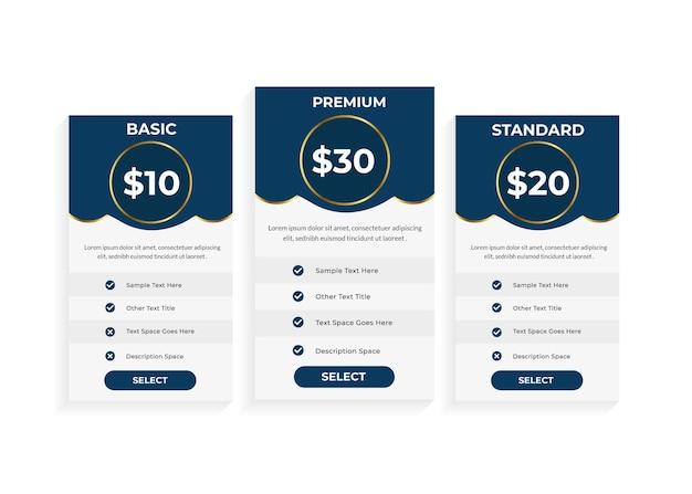 Design moderno de tabela de preços com três planos de assinatura