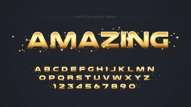 Design moderno de tipografia dourada