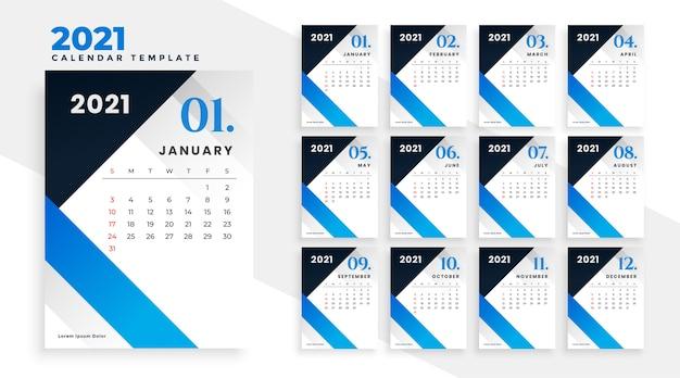 Design moderno do calendário geométrico azul para o ano novo 2021