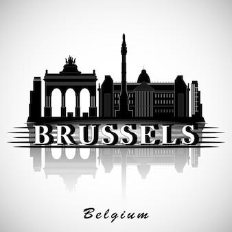 Design moderno do horizonte da cidade de bruxelas. bélgica Vetor Premium
