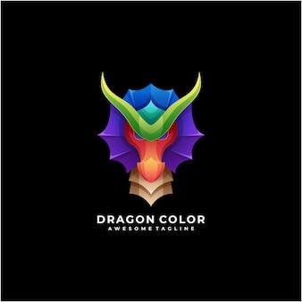 Design moderno do logotipo abstrato colorido do dragão