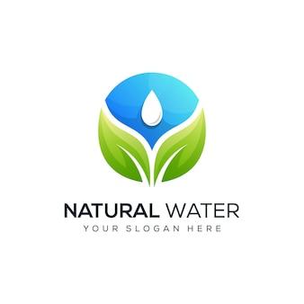 Design moderno do logotipo da água da folha