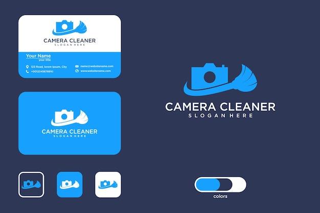 Design moderno do logotipo da câmera de limpeza e cartão de visita