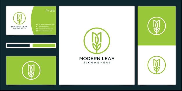 Design moderno do logotipo da folha e cartão de visita
