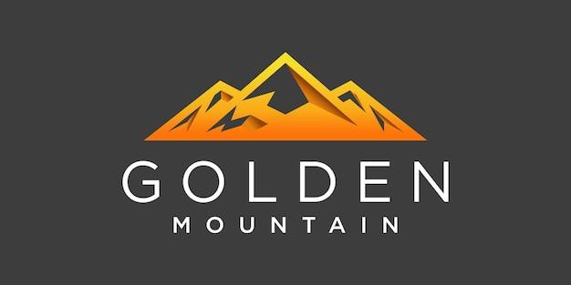 Design moderno do logotipo da montanha com gradientes dourados e formato exclusivo vektor premium