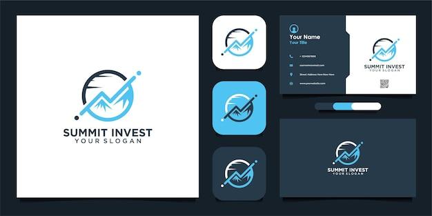 Design moderno do logotipo de investimento da summit e cartão de visita