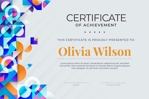 Design moderno e abstrato de modelo de certificado