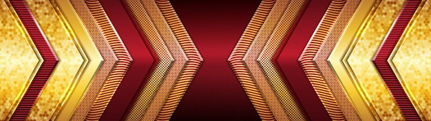 Design moderno e futurista de luxo vermelho e dourado