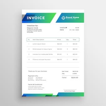 Design moderno elegante modelo de factura