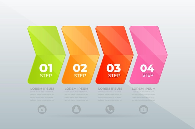 Design moderno infográfico de etapas profissionais