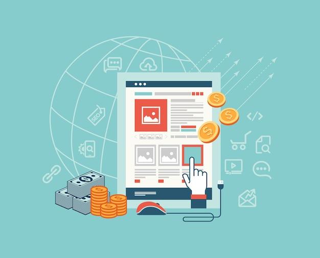Design moderno linha fina plana para pagamento por clique ilustração