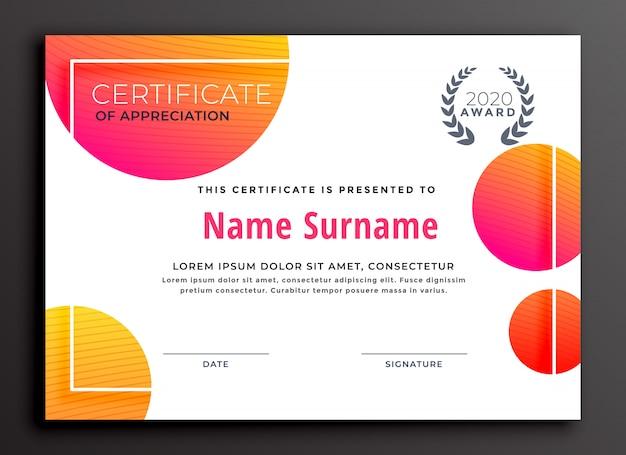 Design moderno modelo de certificado colorido