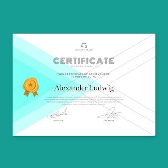 Design moderno modelo de certificado mínimo