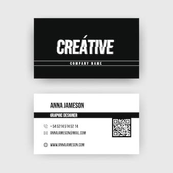 Design monocromático de cartão de visita