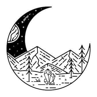 Design monoline vintage de meia lua com paisagem
