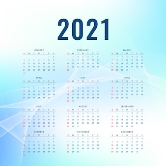 Design ondulado azul do calendário de ano novo de 2021