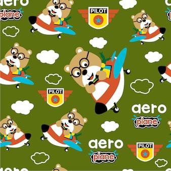 Design padrão sem emenda, desenhos animados engraçados de animais