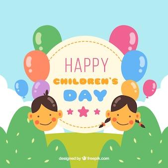 Design para o dia das crianças com globos