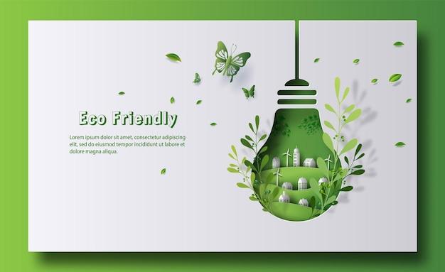 Design para um banner ecológico no formato de uma lâmpada com uma cidade verde